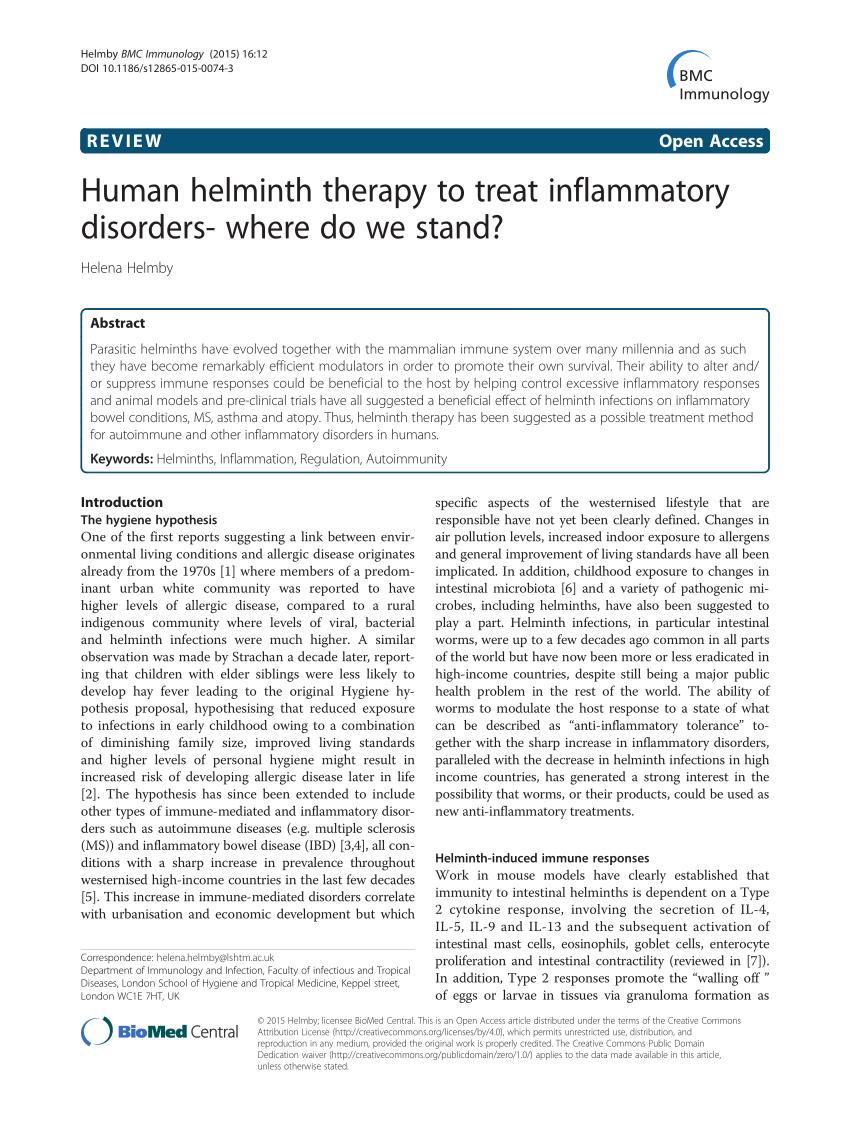 helminthic kezelés uk